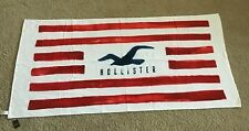 Hollister Beach Towel Red Stripes, Blue Seagull Logo - BRAND NEW w/ Tags
