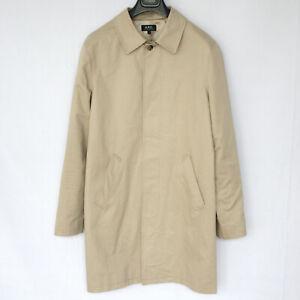 A.P.C. mens khaki beige cotton mac rain jacket button front trench coat apc M