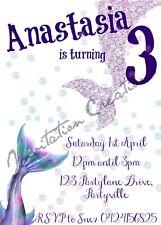 Diy Print Custom Mermaid Pretty Girl Purple Birthday Party Invitations