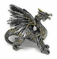 """Collectible Hand Painted Silver Gold Swordwing Dragon Statue Figurine 8"""" L X 3"""""""
