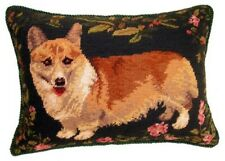"Corgi Dog Needlepoint Pillow 12""x16"" NWT"