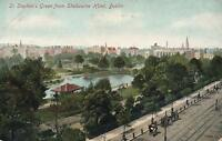 1920's VINTAGE POSTCARD - St. STEPHEN'S GREEN from SHELBOURNE HOTEL, DUBLIN PC