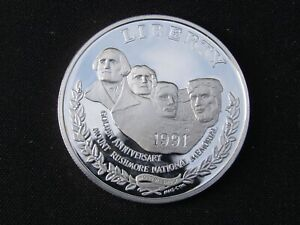 1991 S Proof Mount Rushmore Silver Dollar 90% Silver Encapsulated No Box or COA