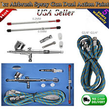 0.2/0.3 /0.5mm Dual Action Air Brush Airbrush Spray Gun compressor Kit Art Paint