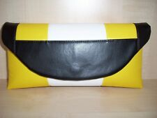 Black, sunshine yellow and white color block faux leather clutch bag, UK made