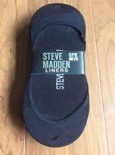 Steve Madden Womens Black 6 PK Basic Stretch Sock Liners 9-11  MSRP $18