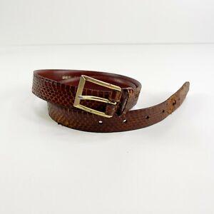 Vintage 80s Genuine Snakeskin leather belt textured Gold hardware Brown Skinny