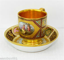 ROYAL VIENNA PORCELAIN GOLD WASHED CUP & SAUCER MIDDLE 19th CENTURY