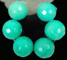 A++ 20mm Large Peruvian Green Opal Jade Faceted Round Focal Beads (6)