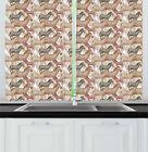 "Safari Kitchen Curtains 2 Panel Set Window Drapes 55"" X 39"" Ambesonne"