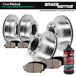 Front & Rear 4 Drill Slot Brake Rotors And 8 Ceramic Pads For Chevy GMC 2WD 4WD