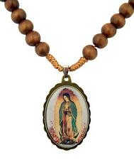 Wooden Prayer Bead Our Lady of Guadalupe Cord Rosary Necklace, 20 Inch