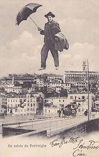8099) VENTIMIGLIA IMPERIA UOMO IN CIELO CON OMBRELLO PANORMA E CARROZZA.