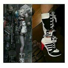Cosplay Harley Quinn DC Suicide Squad Boots Heel Shoes Cosplay Halloween Costume