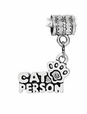 Cat Person Footprint Kitten Gift Dangle Bead for Silver European Charm Bracelets
