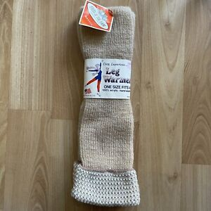 Vintage Fruit of the Loom New Tan & White Leg Warmers 100% Acrylic Made USA