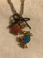 Betsey Johnson Necklace Starfish Crab Sea Shell Charms NEW