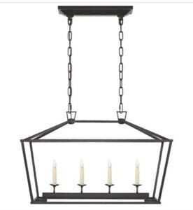 Visual Comfort Darlana Linear Pendant chandelier aged iron small 4 lights $903
