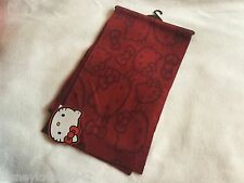 Hello Kitty Loungefly Long Burgundy Red Winter Faces Scarf