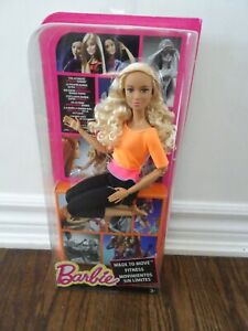 New Barbie Made to Move Doll Orange Top Curly Blonde Hair tan articulated yoga