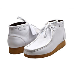 NEW BRITISH WALKERS ORIGINAL NEW CASTLE 2 WHITE LEATHER WALLABEES LACE UP SHOES