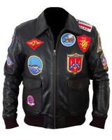 Top Gun Tom Cruise Black Bomber Leather Jacket Air Force Pilot Pete Maverick deee228660e8