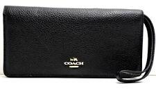 Coach Genuine Women Pebbled Leather Large Slim Wallet Black 57873