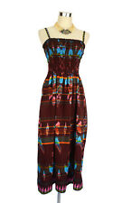 Indonesian Dress- Vintage Style Retro Boho Hippy Batik - Maroon Blue 10/12/14/16