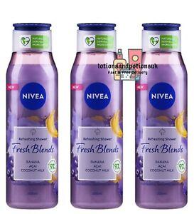 Nivea Fresh Blends BANANA, ACAI & COCONUT MILK Shower Gel 300ml - 3 Pack