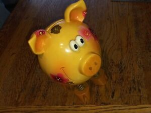 Vintage Large Ceramic Money Box with Spring Legs - Piggy Bank~ Collectable