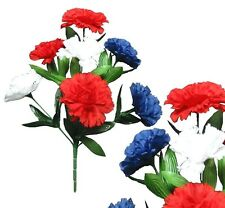 Lot of 144 Usa Poly Silk Carnations Home Porch Holiday Patriotic Flower Decor