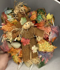 "Handmade ""Happy Fall"" Medium Sized Wreath Fall Colors- Scarecrow & Leaves"