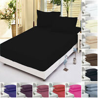 """16""""/40CM EXTRA DEEP BED SHEET FITTED SHEETS PECALE SINGLE DOUBLE KING SUPER KING"""
