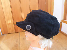 MONSOON ACCESSORIZE BLACK REAL SUEDE FUNKY BAKER BOY HAT CAP SHINY BUTTON NEW
