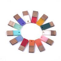 50pcs Rectangle Flactback Resin & Wood Pendants Mini Charms Crafting 22.5~23mm