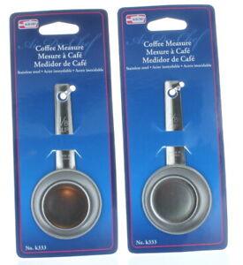 Coffee Measure Spoon Scoop Set of 2 Stainless Steel 1/8 Cup Utensil Al-De-Chef