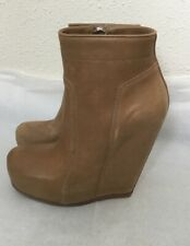 RICK OWENS $1595 high hidden wedge Boots Camel Leather Ankle Zip NWB 37 7