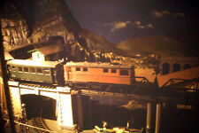 Vintage Kodak Kodachrome steam engine train model, bridge and tracks scene