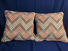"Pr 15"" square décor throw pillow, gray fabric w/pink zigzag stitch, beading"