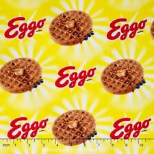 Kellogg's Eggo Sunshine Food Theme Yellow 100% cotton fabric by the yard