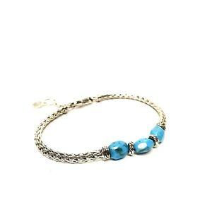 JOHN HARDY Womens .925 Silver Turquoise Stone Slim Tennis Bracelet (MSRP $495)