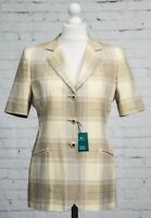Vintage M&S Straw Cream Grey Checked Jacket Blazer Short Sleeved Size 14 NEW