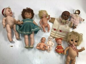 Lot of 9 Dolls Mixed Sizes and Condition And Type For Crafts/Kids Creepy Old