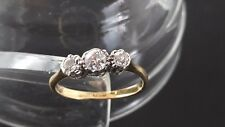 VINTAGE! 18CT YELLOW GOLD AND PLATINUM DIAMOND THREE ACROSS STYLE RING!!