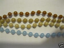 4 Ketten Halsketten Perlenkette 100 cm Kette braun beige hellblau Vintage 66