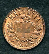 SWITZERLAND,  1936-B,  2 RAPPEN,  COPPER,  UNCIRCULATED,  KM#4.