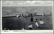 1935 Stempel HUSUM auf AK Dt. Reich Badeleben am Steindeich Personen Leute AK