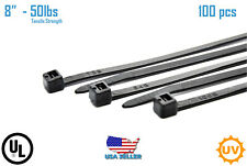 "100 PCS 8"" in Black 50lbs Network Cable Cord Wire Tie Zip Ties Nylon UV K-200SU"