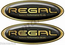 Two Regal Boat Oval Black Classic Sticker Set