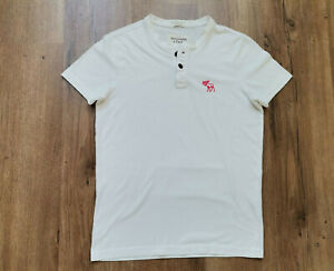 Abercrombie&Fitch  Herren T-Shirt Henley Gr S Weiß